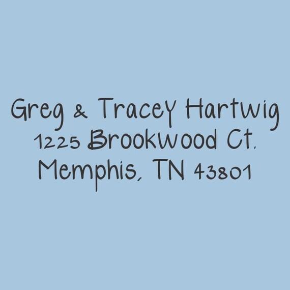 Greg & Tracey Hartwig Custom Self-Inking Return Address Stamp Design 200-023