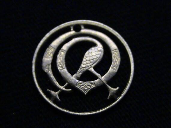 IRELAND - cut coin pendant - w/ stylized bird - 1978