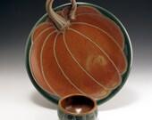 Pumpkin Chip and Dip, handmade, stoneware, pottery, platter   John Bauman