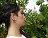 Fake Gauge Earrings, Organic ,Black Horn, Split Gauge, Sprial  Earrings, Fancy ,Tribal style,hand made,organic,naturally