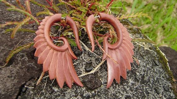 Fake gauge Earrings, Wood, Organic , Earrings, Tribal , Expander ,Split ,hand made,naturally,fake piercing