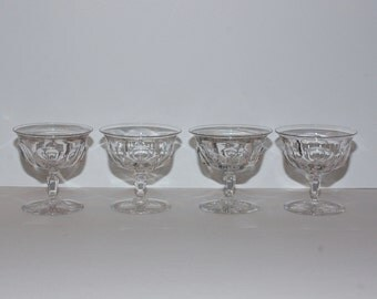 Antique Hawkes Colonial Crystal Stemware, Set of 4