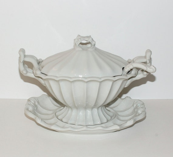 Antique Red Cliff Ironstone Soup Tureen 4 Piece Set