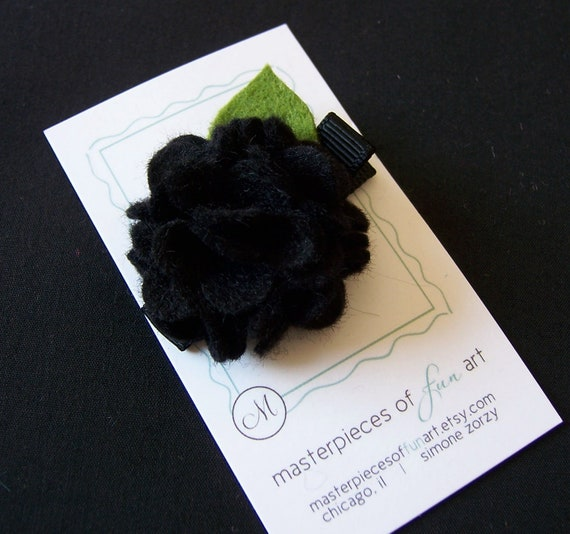 Black Felt Carnation Flower Hair Clip - scallop carnation style - Perfect for back to school - Photo props