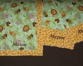 Personalized Double Sized Blanket and Burp Cloth Set  - Safari Print