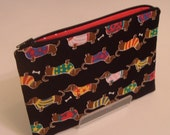 Free Ship -- Dachshund Hot Dog Pouch with RedPolka Dot Lining