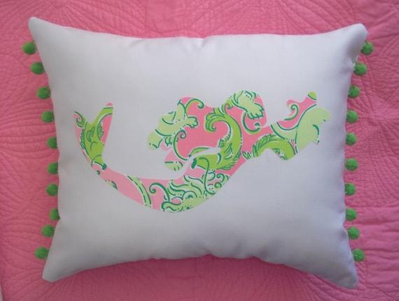 New custom Mermaid Pillow MW Lilly Pulitzer Fried Catfish fabric