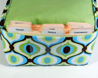 Coupon Holder Organizer Oval 60's Pattern Fabric Celery Green Lining