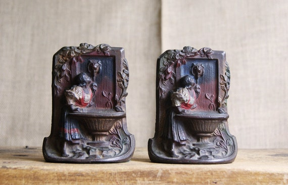 Cast Iron Bookends Maiden by a Fountain