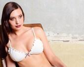 Lingerie Bra, women lingerie, organic cotton, frilly bra, bralette, triangle, white lingerie, bride, bridal, plus size, sexy, wedding, gift