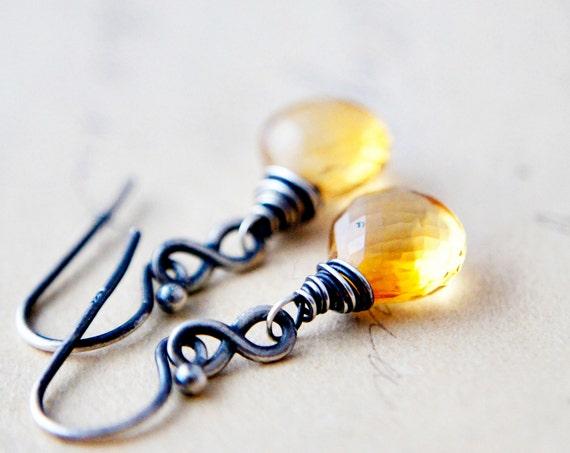 Yellow Citrine Infinity Earrings Silver November Dangle