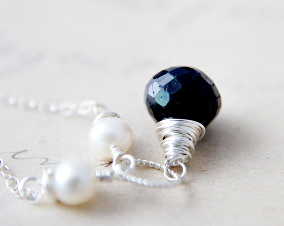 Sapphire Necklace September Birthstone Pearls Pendant