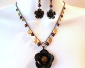 Autumn Rose Pendant Necklace Set - Bronze Metal Roses - Amber Glass - Brown Faux Pearls