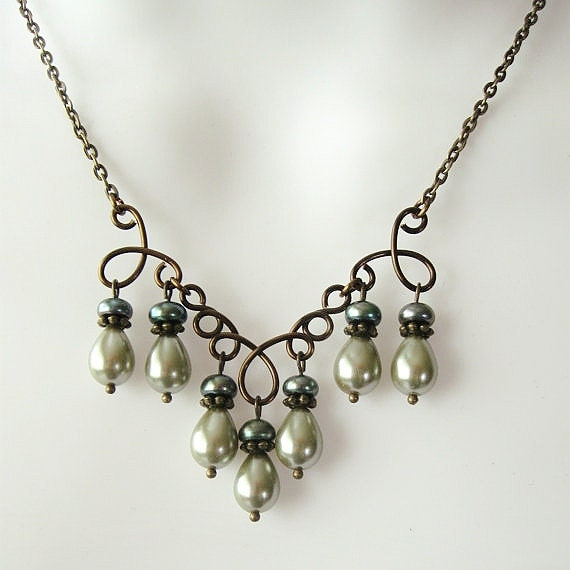 Pearl Chandelier Necklace Set with Sage and Dark Green Pearls -  Wire Work Focal in Antique Bronze