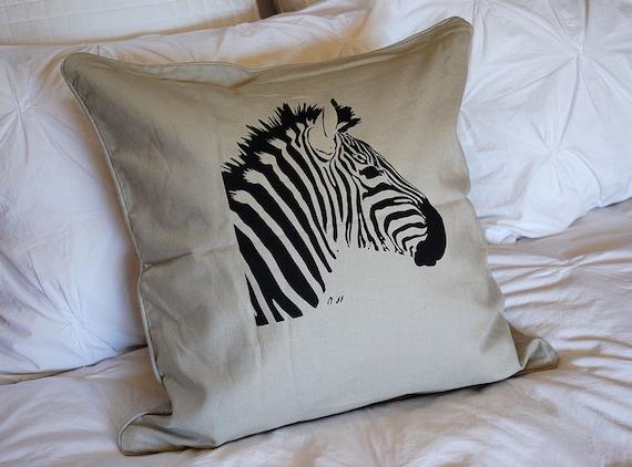 SALEZebra Linen Throw Pillow Cover Taupe animal pillow