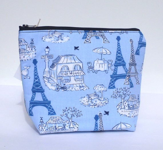 Insulated Lunch Bag Little - Zip Eco Friendly Blue Paris by BonTons on Etsy