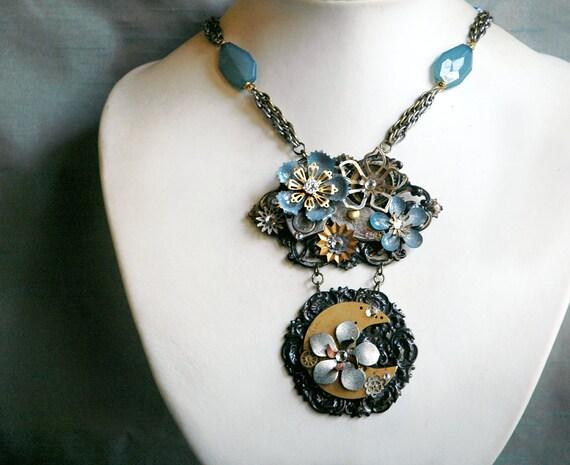 Lumière de la Lune - Steampunk Necklace with Crescent Moon Enamel Flowers and Antique Watch Gears