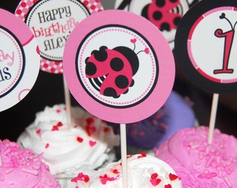 Sweet little ladybug printable cupcake toppers or party favors - digital file