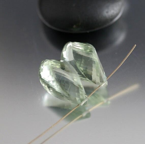 21mm Green Amethyst Twist Briolettes