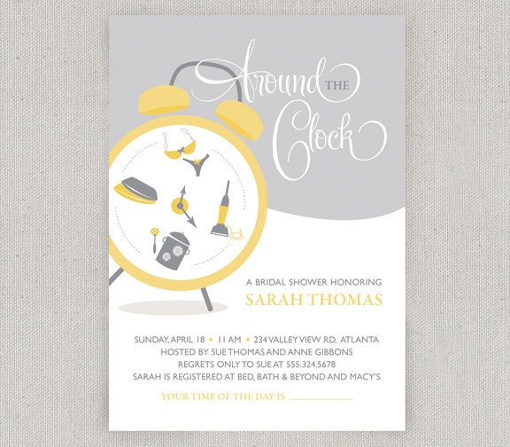 Around the Clock Bridal Shower Invitation by twopoochpaperie