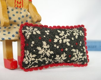 Miniature Pillow with Cozy Crochet Trim - FOR YOUR DOLL  in Winter's Garden