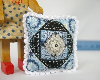 Minature Patchwork Pillow for Your Doll - A FINISHED PIECE from the Picca-Little Line in Blue China