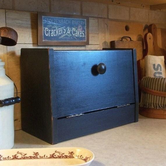 Primitive Bread Box Space Saver Farmhouse Storage Snack Box Lamp Black / Color Choice
