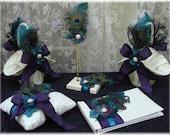 Peacock Elegance Ring Bearer Pillow and Flower Girl Basket in your Wedding Colors - Deposit Listing