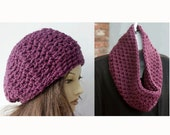 Chunky Hat Scarf Set,  Purple Crochet Infinity Scarf ,  Crochet Slouchy Beanie and Matching Cowl, Ready to Ship