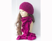 Raspberry  Hat Scarf Set,  Slouchy Beanie,  Ruffled Scarf, Alpaca and Wool, Ready to Ship