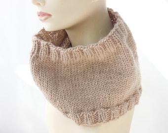 Beige  Knit  Cowl, Wool Alpaca Neck Warmer,  Fall Fashion,, Ready to Ship