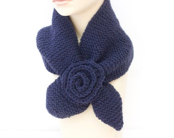 Knit Keyhole Scarf  Navy Blue,  Wool Self Tying Neck Warmer, Stay in Place Scarf