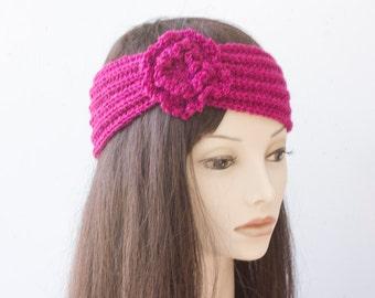SALE, Magenta Knit Headband, Woman's Knit Turban,  Flower Flapper Headband,  1920s Style Head Wrap, Ready to Ship