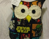 Hooters Stuffed Owl Pillow- featuring  Star Wars colorful character fabric