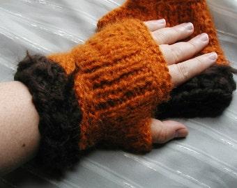 Pumpkin alpaca and wool wristlets for medium hands