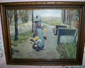 Vintage Country Woman Flower Seller Framed Print