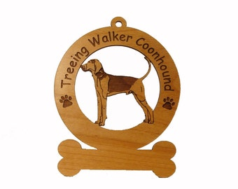 4187 Treeing Walker Coonhound  Personalized Wood Ornament
