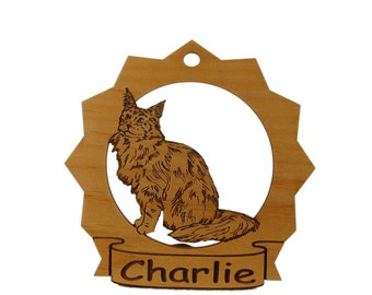 Maine Coon 2 Cat Wood Ornament 087210 Personalized With Your Cat's Name