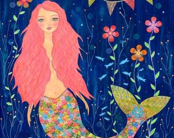 Mermaid Art - Large Mermaid Art Print - Nursery Decor - Mermaid Decor -Mermaid Print - Children Decor - Mermaid Nursery