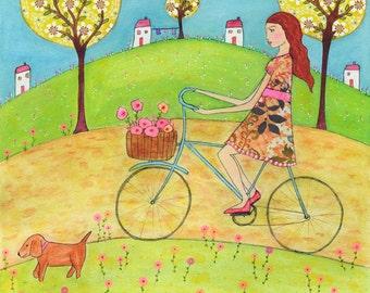 Illustration Art Print, Girl Art Decor, Folk Art Painting, Nursery Decor