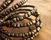 Wide Beaded Bronze Color Adjustable Memory Wire Cuff Bracelet