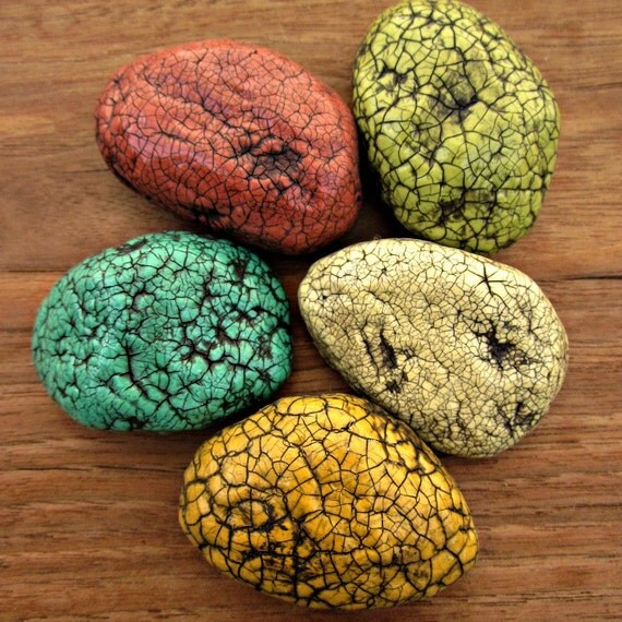 Paper Mache Magnet Set of Five Papier Mache Stone Magnets Recycled Decor: Jardin Vert MADE TO ORDER