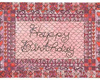 Happy Birthday in Pink Word Inspiration Fraktur Aceo Word Print  by Theodora