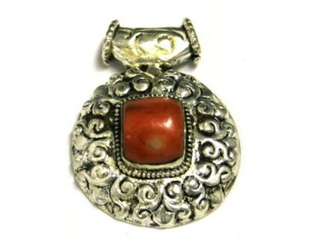 Detailed Tibetan Silver Focal Pendant with Red Coral Cabochon -- 2 x 1.5 inches -- REVERSIBLE--PD-SL-33