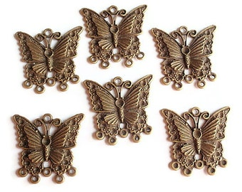 12 Links, Finding Supply, Chandelier Butterfly Components, Antiqued Bronze Colored, 30mmX23mm6