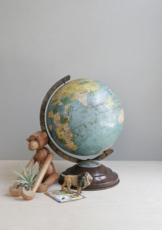 vintage metal globe / 1950s