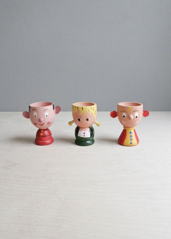 vintage egg cup trio