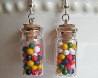 Food Jewelry - Rainbow Candy Jar Earrings