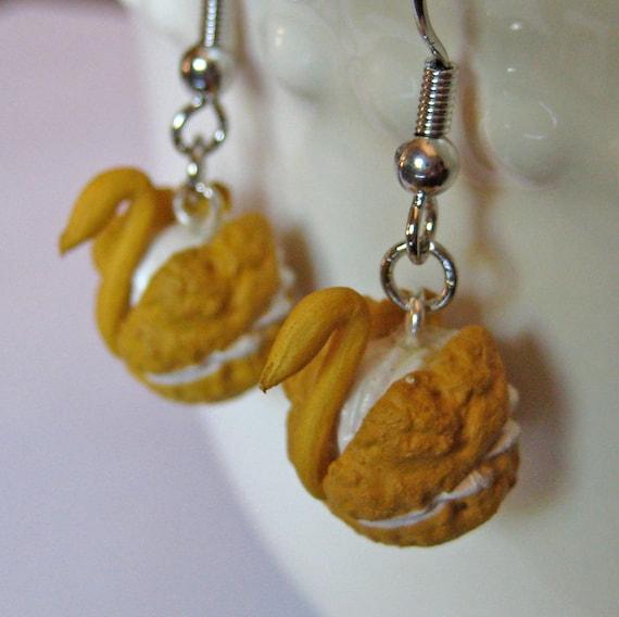 Swan Cream Puff Earrings - Mini Food Jewelry