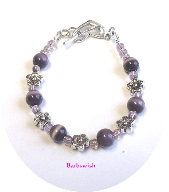 Holiday Special Bracelets Purple Cats eye and Silver Flowers